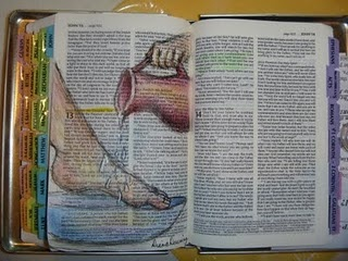 sketching in a friend's Bible. #artjournal