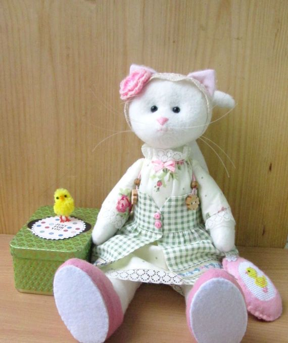 Cat Handmade Doll CatCat-stuffed toy cloth doll Doll by NataSmToys