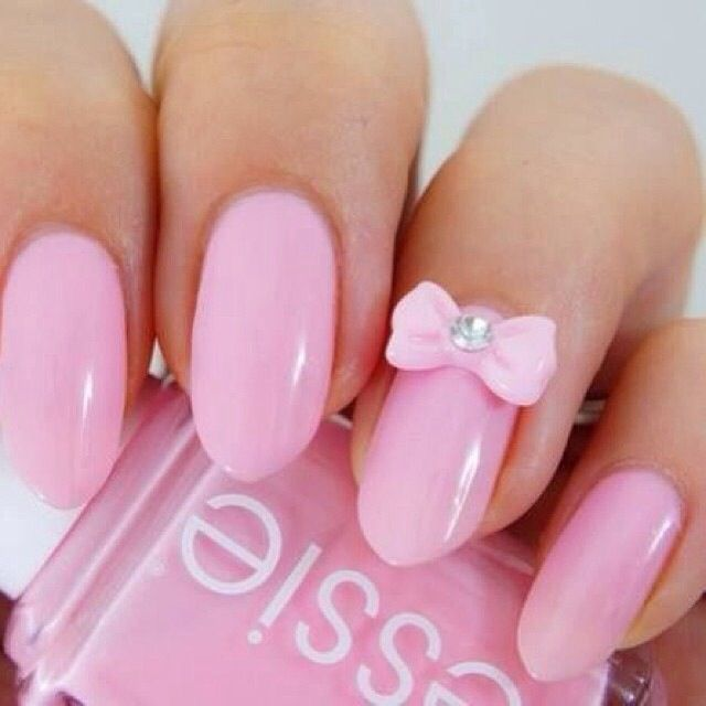 pink nails with bow | Nails | tomuch.us
