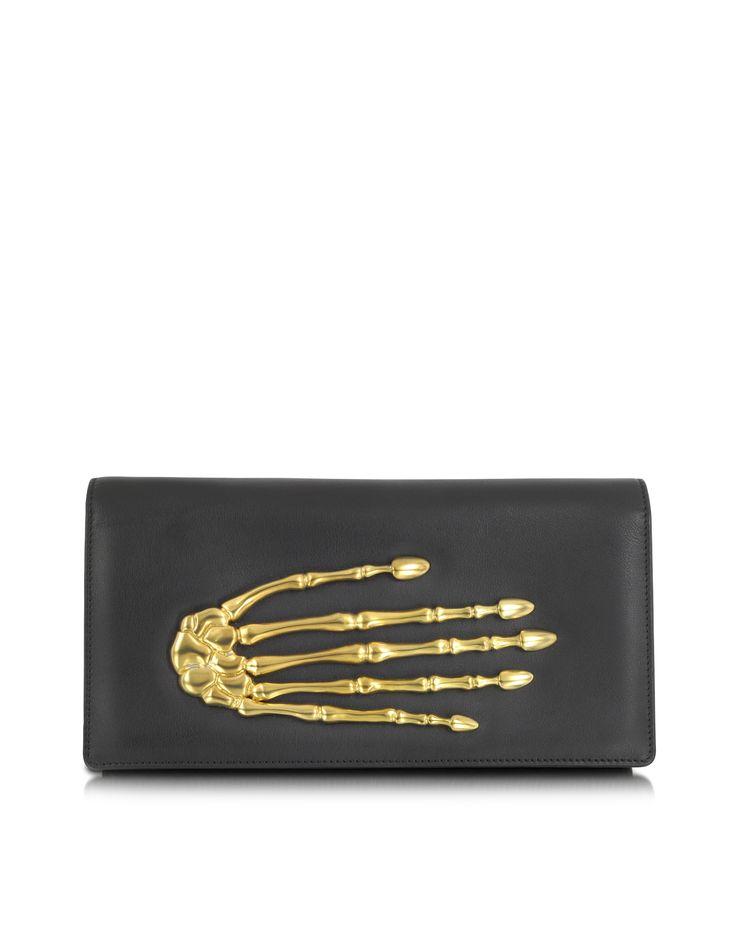 Bernard Delettrez Black Nappa Leather Clutch w/Skeleton Hand