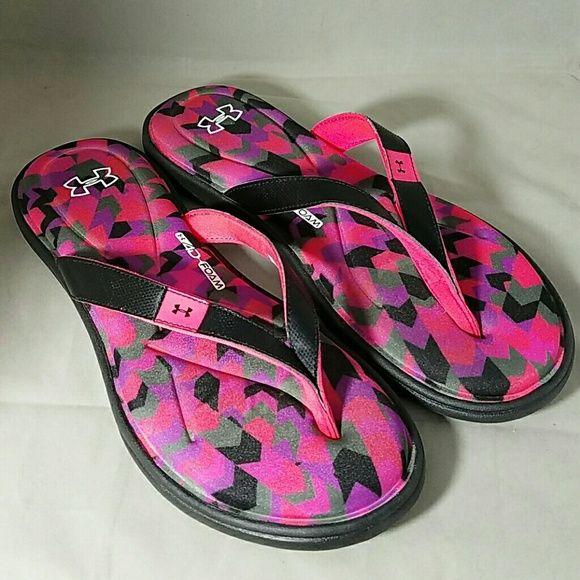 Under Armour Sz 10 Neon Pink Flip Flops Sandals  Pink -7732