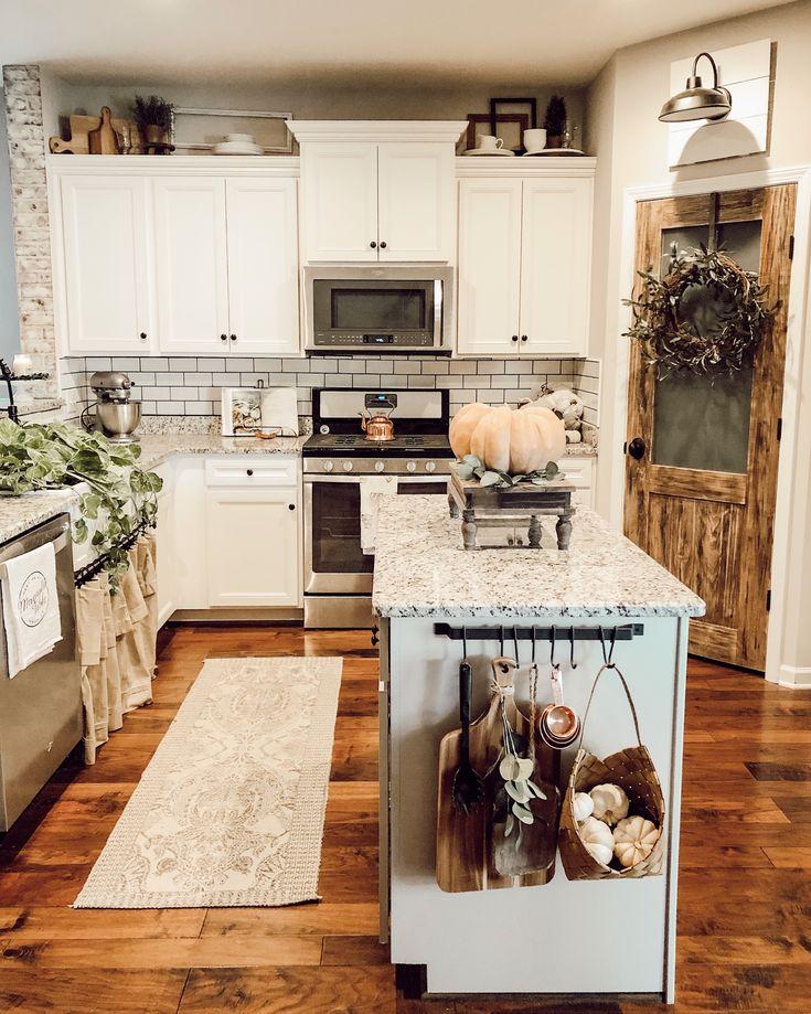Farmhouse kitchen, subway tile, pantry door, farmhouse