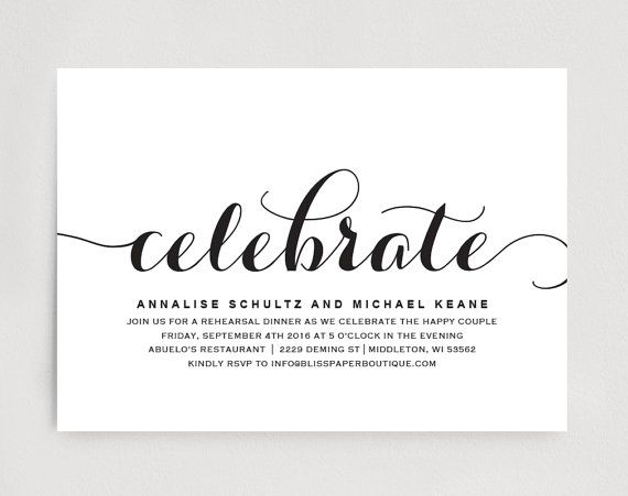 9 best Rehearsal Dinner Invitations images on Pinterest - dinner invitation template free