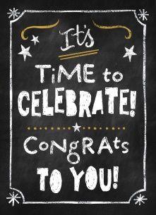 Gefeliciteerd kaart - felicitatiekaart - schoolbord-time-to-celebrate