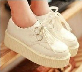 Free shipping Harajuku platform shoes 2014 spring women's fashion creepers zipper doodle color block decoration canvas shoes-in Flats from S...