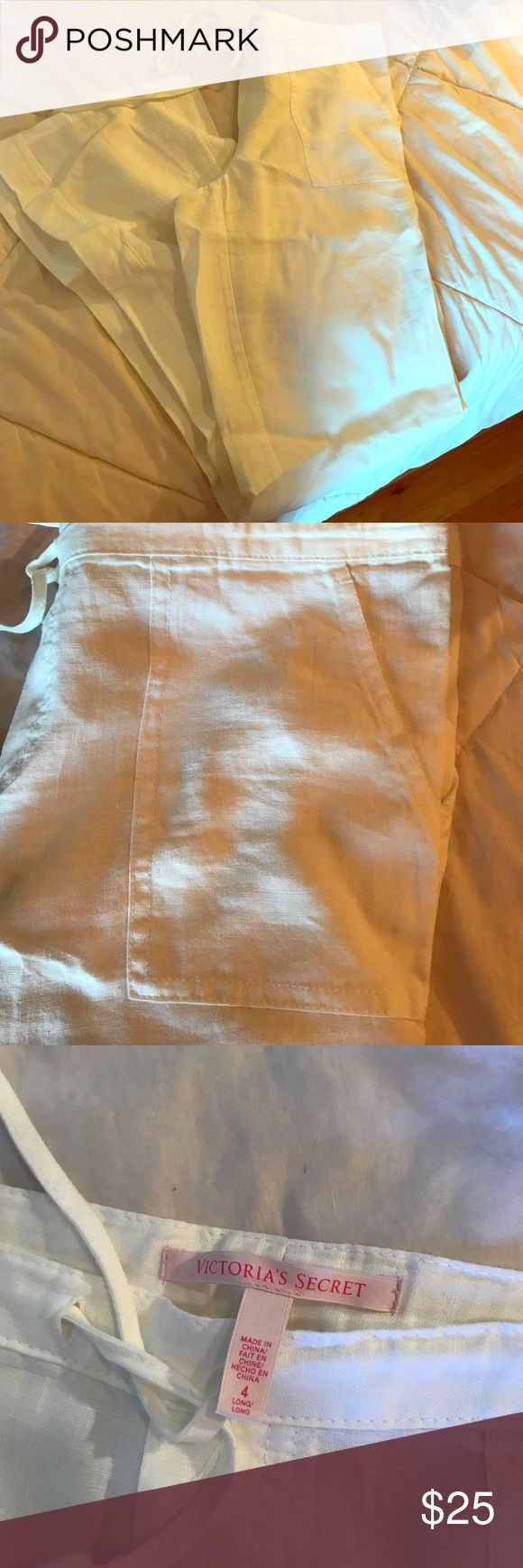 VS wide leg linen pants *long inseam* These linen pants are super cute and comfy for lounging, going to the beach or wearing out with friends. Victoria's Secret Pants Wide Leg