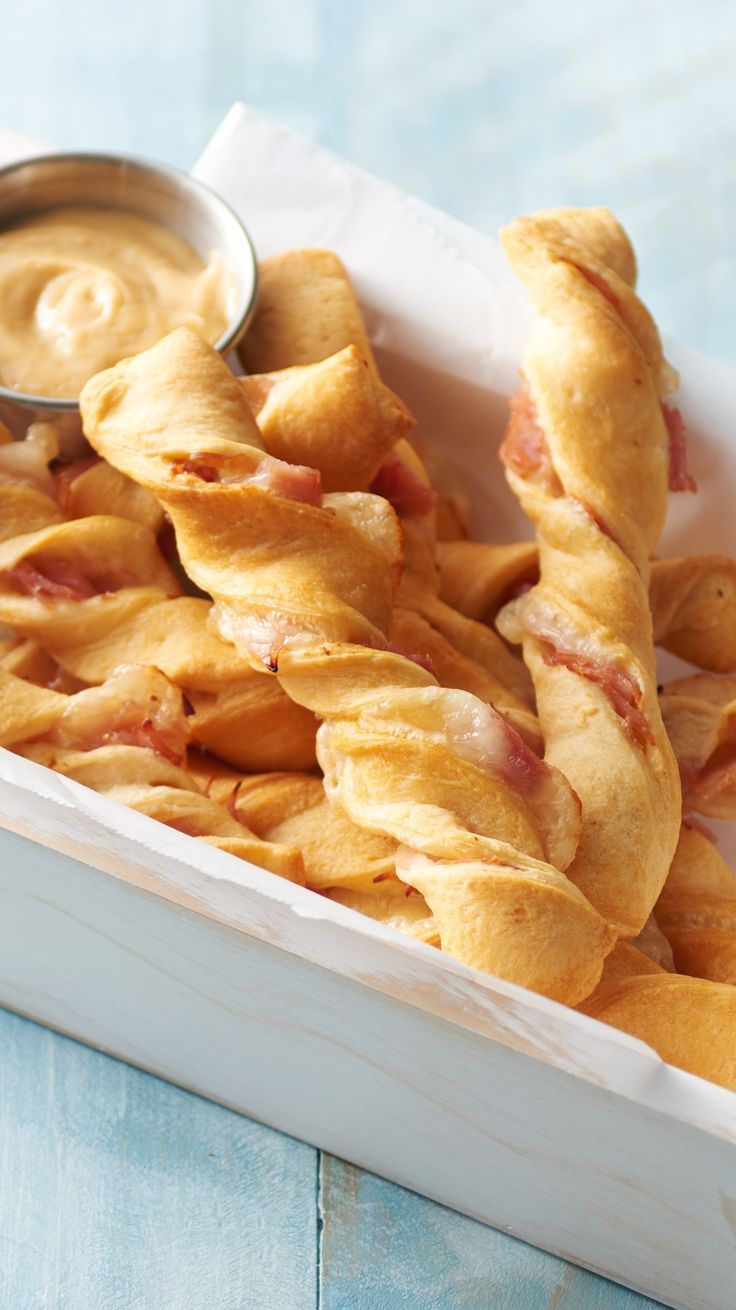 Honey Ham and Swiss Crescent Twists: Need a last-minute party app? You are just three ingredients away from these easy twists. Serve them with honey mustard or jam!