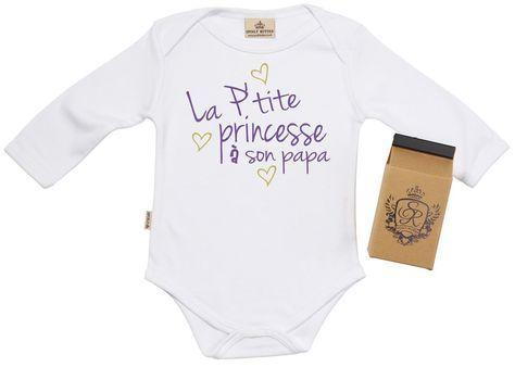 SR - La P'tite Princesses a son papa Body bébé, 100% Coton Bio + boîte cadeau 0-6 mois Blanc