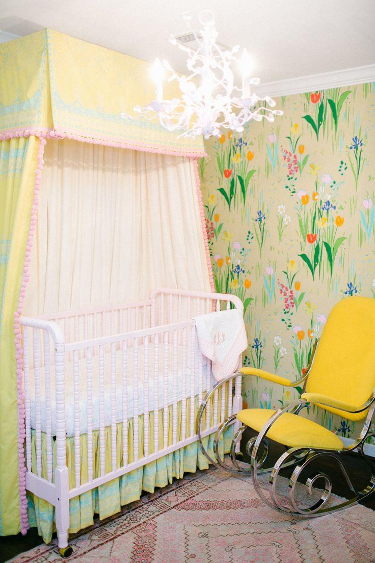 Crib for sale vernon bc - Nursery Guermantes Wallpaper Yellow Pink Pompom Trim Jenny Lind Crib Design By