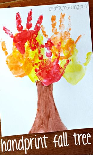 Kids Handprint Fall Tree Craft #Fall craft for kids to make - toddler/preschool approved! | CraftyMorning.com