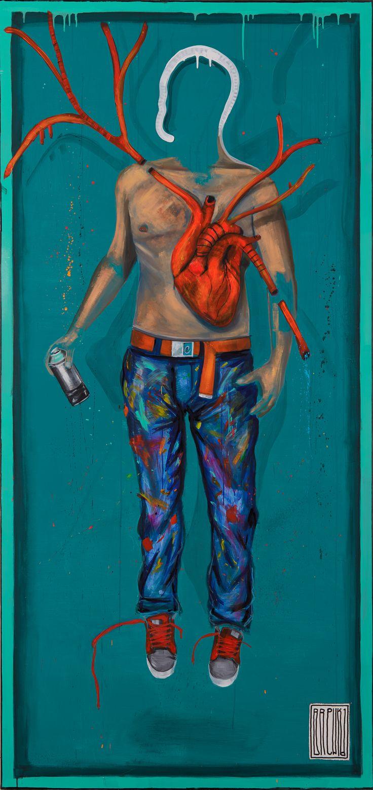 Artist, 229x108 cm razem z ramą, akryl, olej na płótnie, 2016 #sztuka #malarstwo #graffiti
