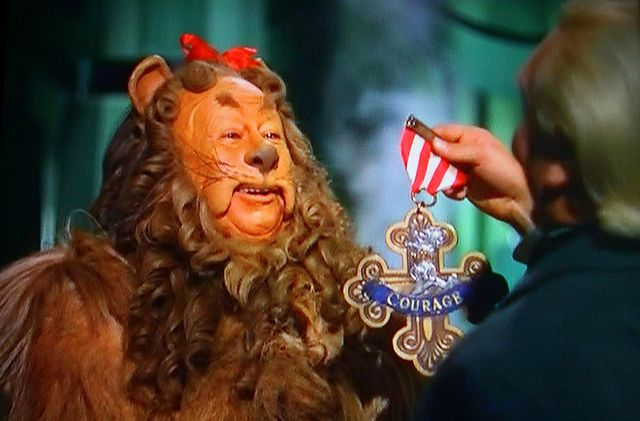 6) courage  - the cowardly lion finally got his courage