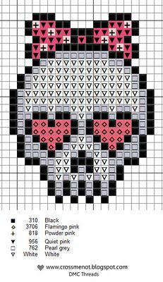 pink skull cross stitch Great cute little cross stitch patterns with thread guides - Cross me not