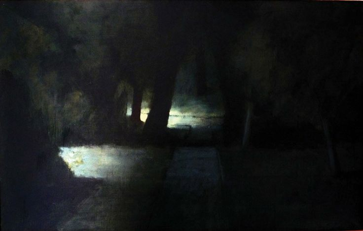 RICK AMOR (BORN 1948). Study for Evening in the Gardens, May 1992,  oil on canvas,  45.5 x 70.5cm.