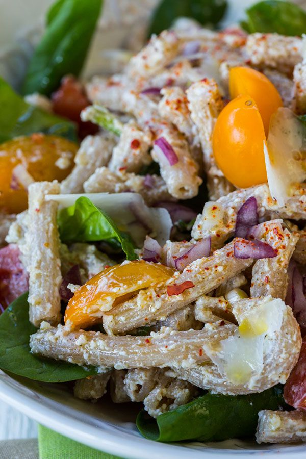 Skinny Pasta Salad with Spinach & Tomatoes Recipe #skinnypastasalad #summerrecipes