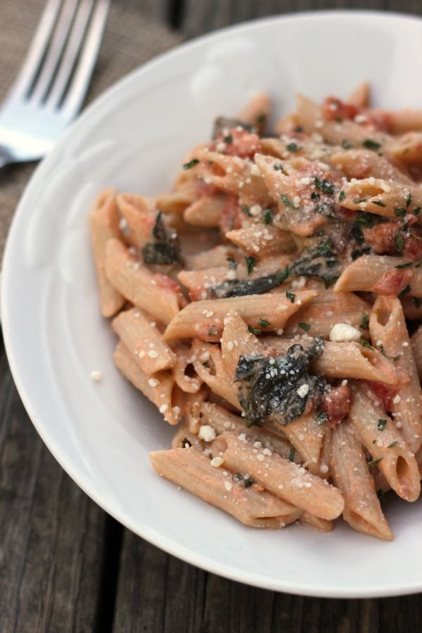 Spicy Tomato Spinach Pasta Recipe | Food | Pinterest | Spicy, Spinach ...