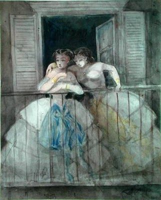 Girls on a Balcony by Constantin Guys (1802-1892), Dutch-born illustrator for British and French newspapers (wiki - harmoniesoflight)