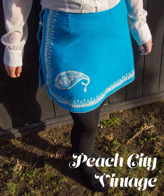 Vibrant blue skirt incredible embroidery. by PeachCityVintage