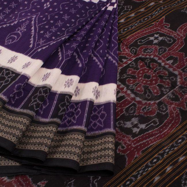 Buy online Handwoven Violet Ghagara Sakata Double Ikat Cotton Saree Without Blouse 10012195