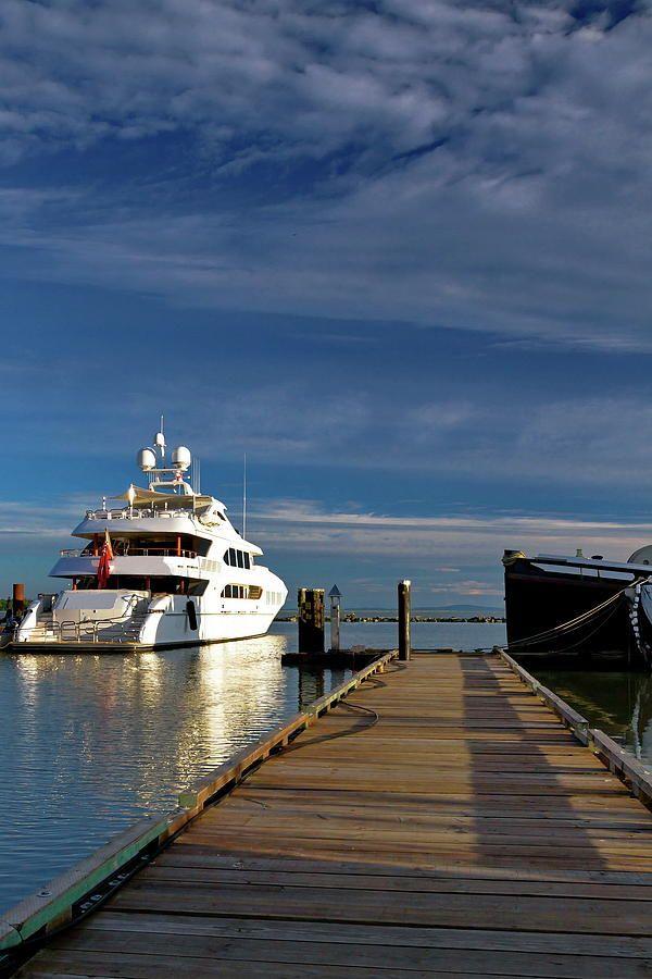 Yacht Photograph - Yacht At The Pier by Alex Lyubar #AlexLyubarFineArtPhotography #YachtSeascape #VancouverCanada #ArtForHome #FineArtPrint