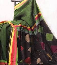 Buy Moss Green Self Woven silk saree hand-woven-saree online