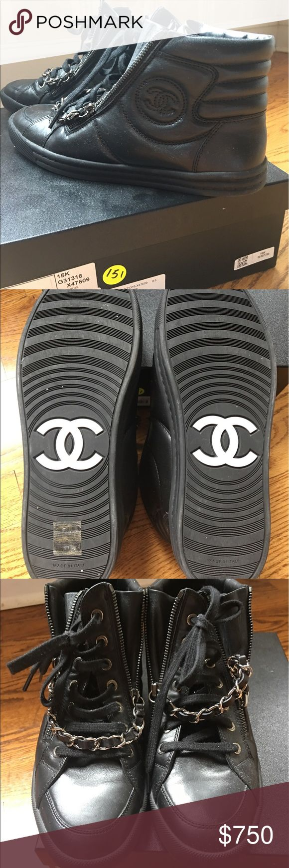 Chanel Sneakers 100% authentic. Only worn twice. Price is pretty firm so low offers will not be considered. What you see is what you get! Size 39.5. CHANEL Shoes Sneakers