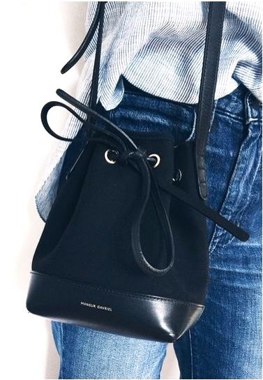 Mini bucket bags are the cutest.