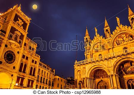 Full Moon In San Marco Square, Venice Italy - csp12965988