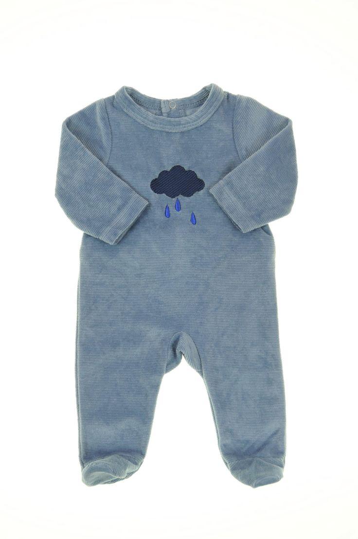 Pyjama velours éponge de la marque Tape à l'oeil en taille 0Naissance - Affairesdeptits vetement occasion enfant bebe pas cher