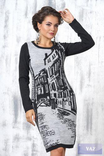 Платье жен. 2196, цвет 07-02/31 т.серый/св.серый