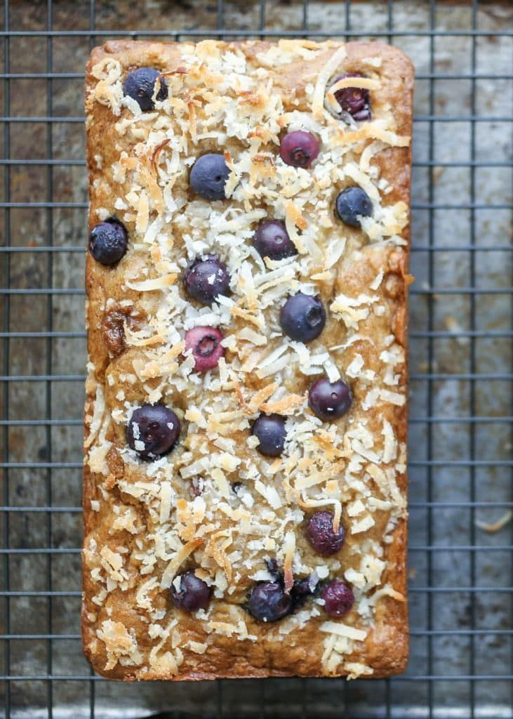 Blueberry Coconut Banana Bread, traditional and gluten free recipes by Barefeet In The Kitchen