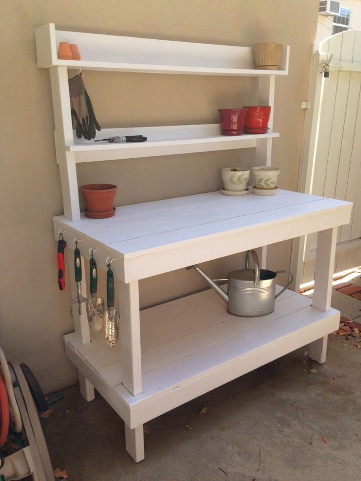 Every garden needs a home base – a place to go for your basic tools, pots, soil, etc.  I needed a potting bench.  I have been using our patio table up until now and it simply was getting too …