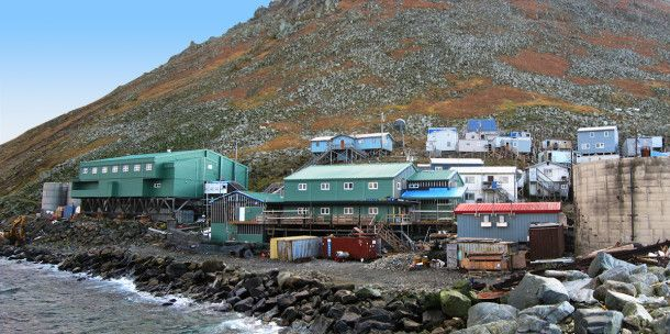 Little Diomede Island School in Alaska and Big Diomede Island is Siberia, Russia. (Nestled only 2 1/2 miles apart)!.