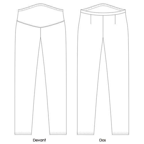 Patron couture Pantalon de grossesse de coupe droite, avec empiècement en maille englobant le ventre. Taille réglable au moyen d'un élastique à trous. Pinces de dos. Ce pantalon suit l'évolution du…