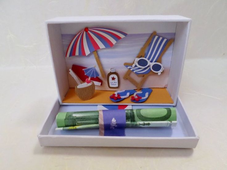 The CASH is THE BEACH BLANKET in this DIORAMA!  Geldgeschenk Reise von geldgeschenke auf DaWanda.com