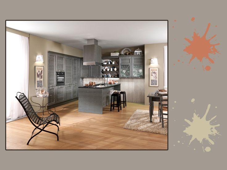 Grigio minerale, color ghiaietto e terracotta: una tavolozza di grigi e toni naturali per un'atmosfera sobria, adatta ad un ambiente dallo stile rustico. A chi piace? #grey #palette #colourfull #kitchen #interiordesign
