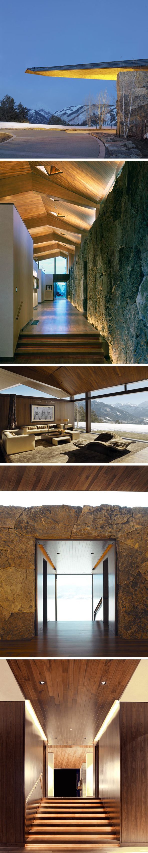 Wildcat Ridge Residence by Voorsanger Architects (Colorado). I love the uplighting in the second and fifth images; it gives otherwise stagnant expanses of wood and stone a lot of breathing room.