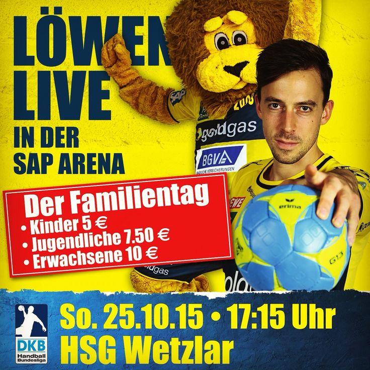 Freuen uns riesig auf den Familientag heute in der SAP Arena und wollen in der Bundesliga auch gegen die HSG Wetzlar ungeschlagen bleiben. #1team1ziel #LoewenLive