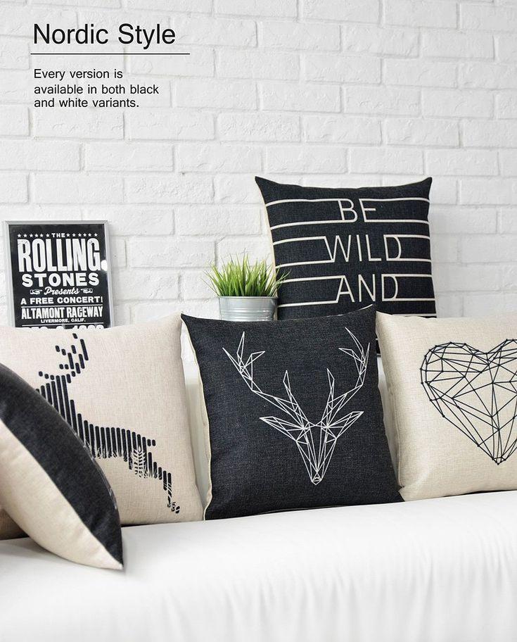 Linnen Scandinavische Stijl zwart wit Herten kussens, Nordic geometrische kussen dier, vintage stoelkussens in       Min. Bestelling is 10 usd! Kunt u een gemengde orde. De minimale bestelling is van kussen op AliExpress.com | Alibaba Groep