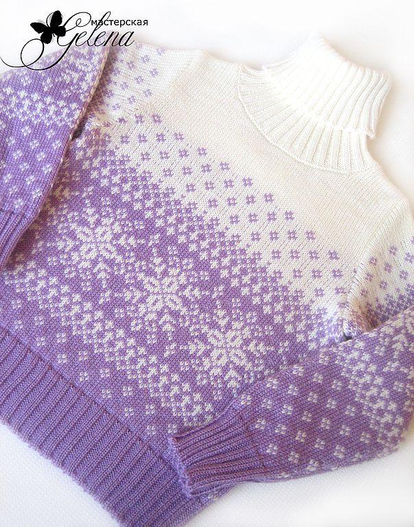 """Купить Свитер для девочки """"Нежные снежинки"""" - орнамент, свитер для девочки, теплый свитер, джемпер для девочки"""