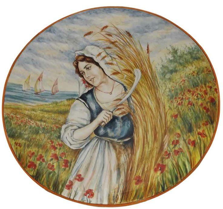 """Piatto in ceramica ø 70 cm - Omaggioa Cascella """"La mietritrice"""" di Giuseppe Liberati  www.liberati.net www.liberarteartigianato.it"""