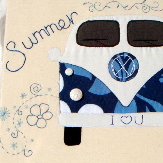 Campervan Textile Art £45.00  Summer Love - I LOVE YOU