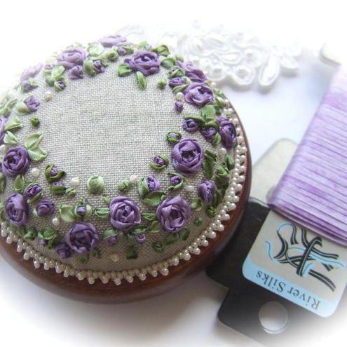 Silk ribbon roses - Roses and Pearls Pincushion (Purple) Kit