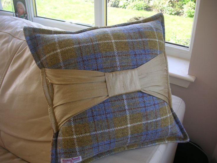 Harris Tweed Cushions with Silk Dupion Bow