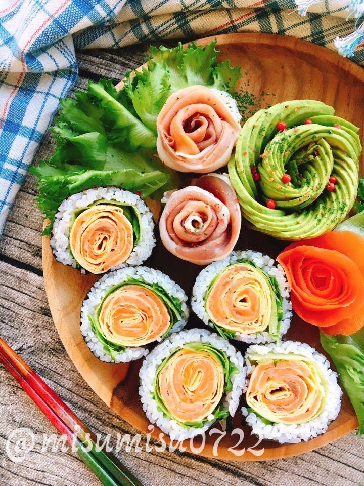 misuzu's dish photo サーモンと卵で  お花の巻き寿司 | http://snapdish.co #SnapDish #レシピ #お弁当 #簡単料理 #節分 #お寿司 #海苔の日(2月6日)