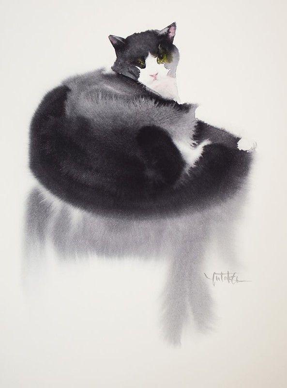 Акварельные кошки японского художника Ютэка Мураками (Yutaka Murakami) - Форум по искусству и инвестициям в искусство