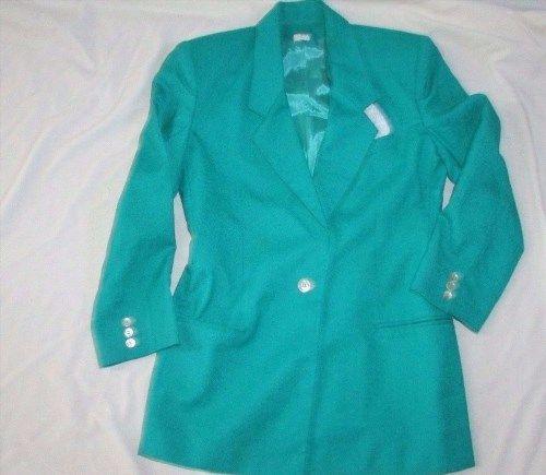 19.98$  Buy here - http://vinuc.justgood.pw/vig/item.php?t=ix15zl48549 - Women's Oleg Cassini green suit jacket blazer sz 6 Poly Rayon blend vintage