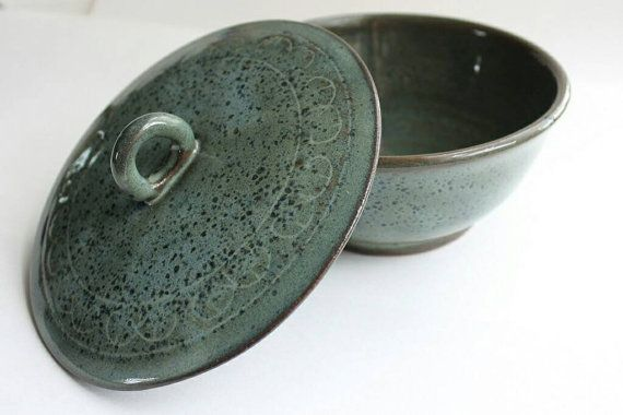 Check out this item in my Etsy shop https://www.etsy.com/ca/listing/291753749/green-and-blue-speckle-bowl-with-double