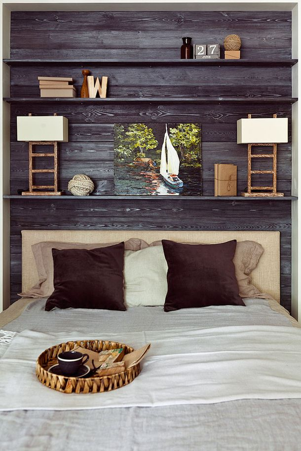 Wooden wall and headboard - make from the reclaimed cedar for master room headboard, then leave out wiens cotting in room