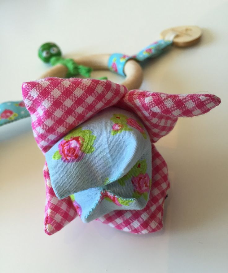Holland themed tulip teething toy with a bell. Hand made